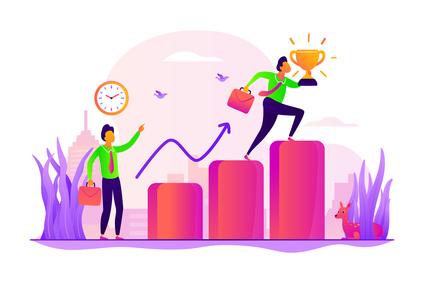 Ilustración sobre gestión de personal y desarrollo profesional